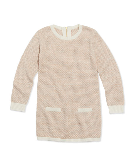 Shimmer Popcorn Knit Sweaterdress, Pink, Sizes 2A-5A