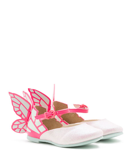 Chiara Leather-Trim Butterfly Mary Jane Flat, Toddler/Youth Sizes 7T-2Y