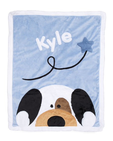 Boogie Baby Personalized Peek-a-Boo Puppy Plush Blanket, Blue