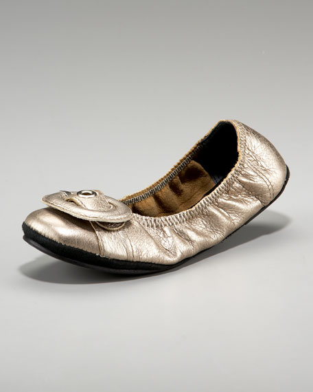 Leather Buckle Ballerina Flat