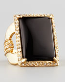 Rachel Zoe Square Ring, Black