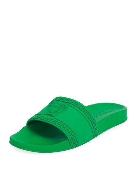 c9821cb8e7462 Versace Men s Medusa   Greek Key Shower Slide Sandals