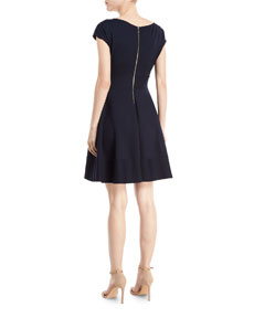 8ed04716eee1 kate spade new york fiorella ponte short-sleeve day dress   Neiman Marcus