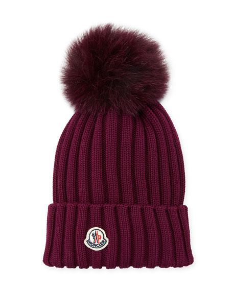 cd6514edac0 Moncler Ribbed-Knit Beanie Hat w Fur Pompom
