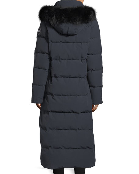 Image 3 of 5: Mystique Long Hooded Puffer Parka Coat w/ Fur Trim