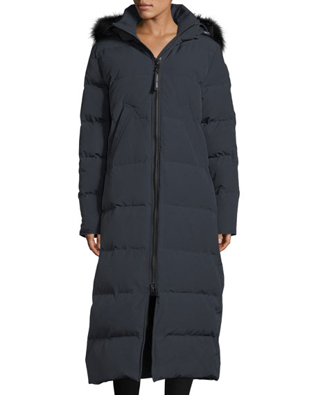Image 1 of 5: Mystique Long Hooded Puffer Parka Coat w/ Fur Trim