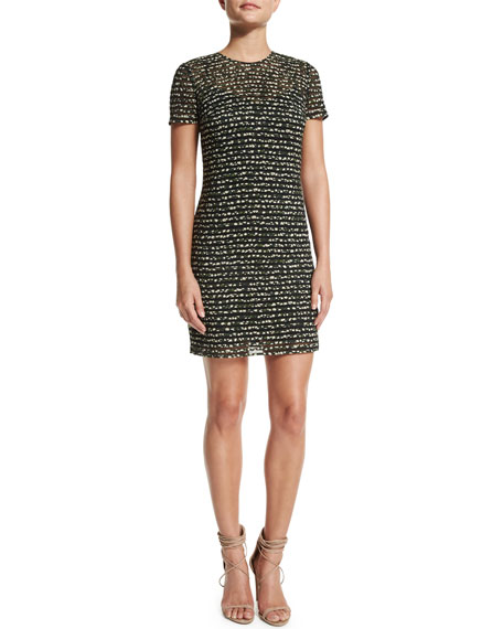 Burberry Prorsum Micro Floral-Print Dress, Forest Green