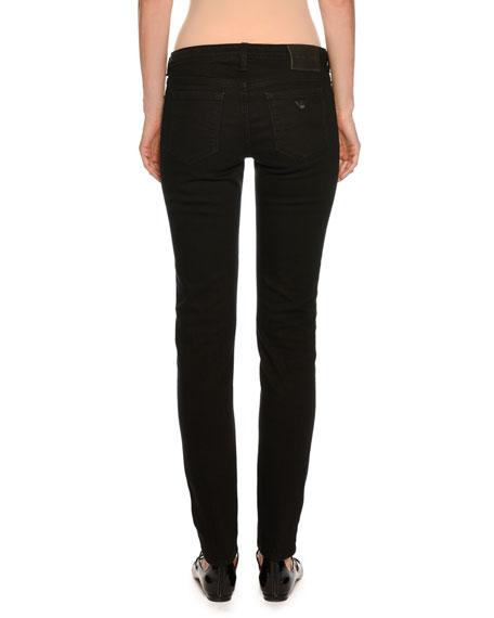 Straight-Leg Skinny Ankle Pants, Black