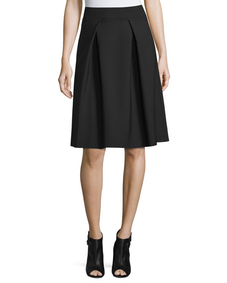 Carolina Herrera Double-Faced Box-Pleated Party Skirt