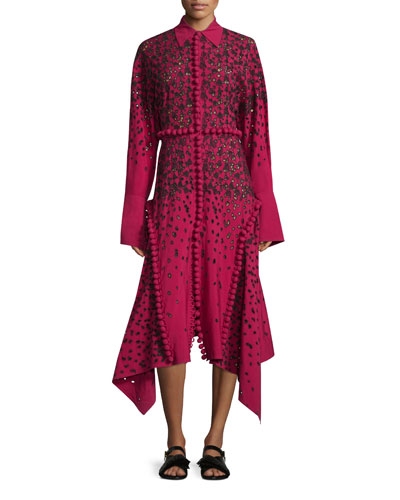 Long-Sleeve Degrade Embroidered Eyelet Dress, Magenta/Black