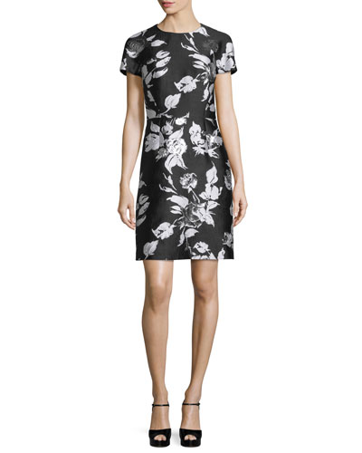 Short-Sleeve Metallic Floral Jacquard Dress, Black
