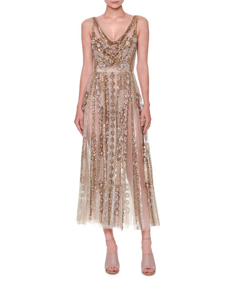 Sleeveless Sequined Tulle Gown, Nude/Gold