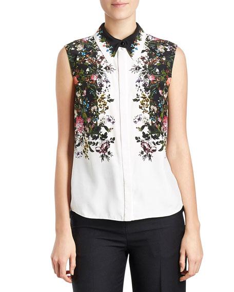 Sleeveless Floral Silk Blouse