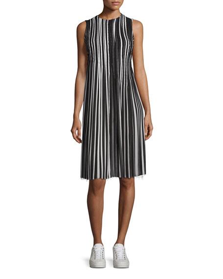 Striped Pleated-Skirt Sleeveless Dress, Black/Multi