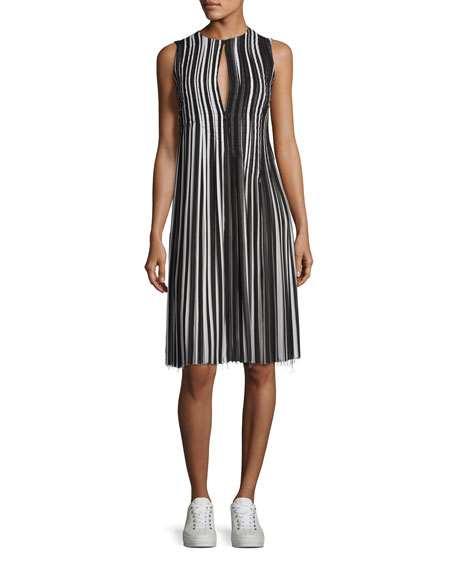 Akris Striped Pleated-Skirt Sleeveless Dress, Black/Multi
