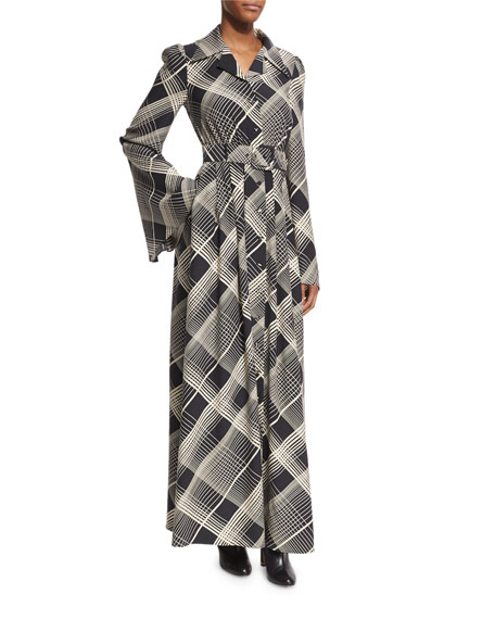 Co Plaid Hammered Silk Belted Maxi Shirtdress, Black/Off
