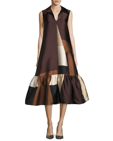 Co Colorblock Sleeveless Flounce Dress, Brown/Black/White
