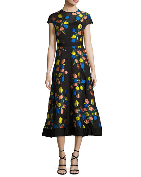 Lela Rose Cap-Sleeve Tulip Fil Coup?? A-Line Dress,