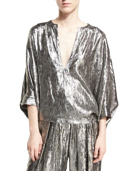 Lamé Blouson Top, Silver