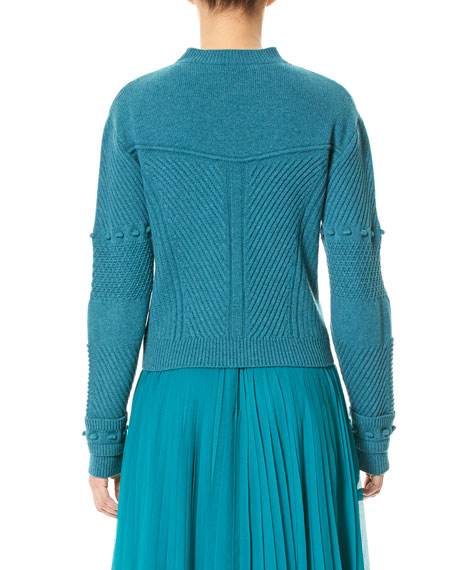 Mixed-Stitch Wool-Cashmere Sweater, Teal