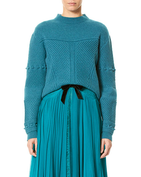 Carolina Herrera Mixed-Stitch Wool-Cashmere Sweater, Teal