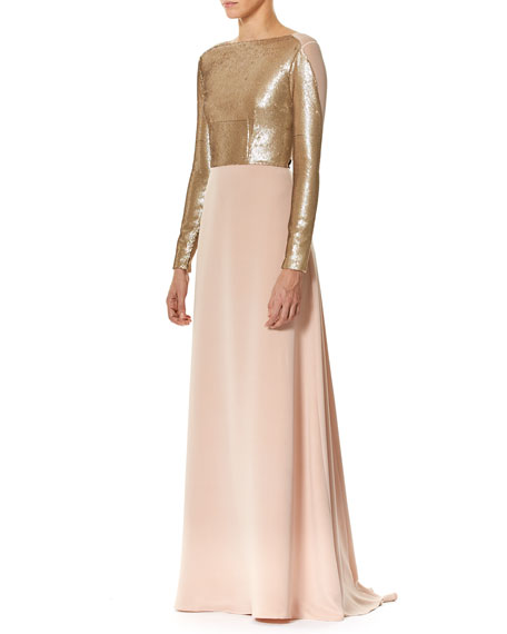 Long-Sleeve Sequined Cr&#234pe Gown with Bows