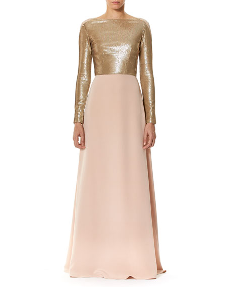 Carolina Herrera Long-Sleeve Sequined Crêpe Gown with Bows