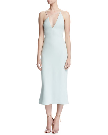 Karina Slip Dress with Asymmetric Straps, Ice