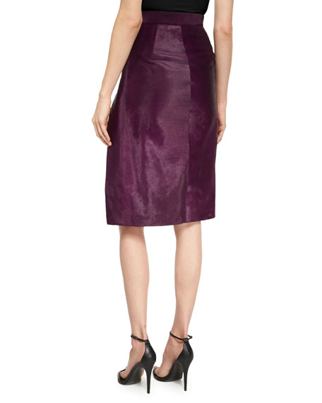 Calf Hair Slit Pencil Skirt, Plum