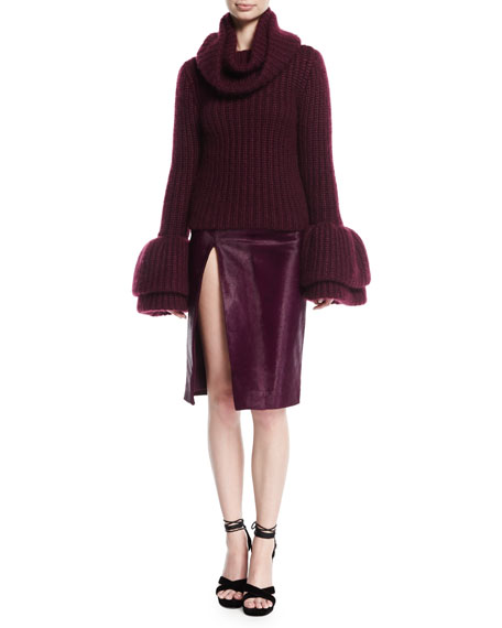 Calf Hair Slit Pencil Skirt, Plum