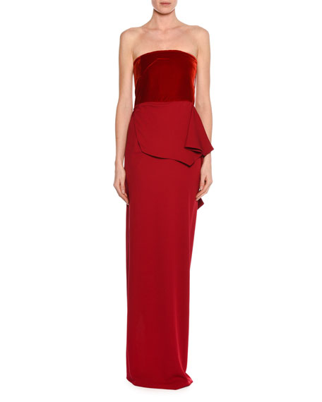 Velvet-Bustier Draped Silk Gown