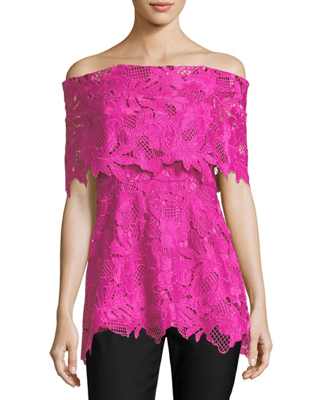 Lela Rose Guipure Lace Off-the-Shoulder Top