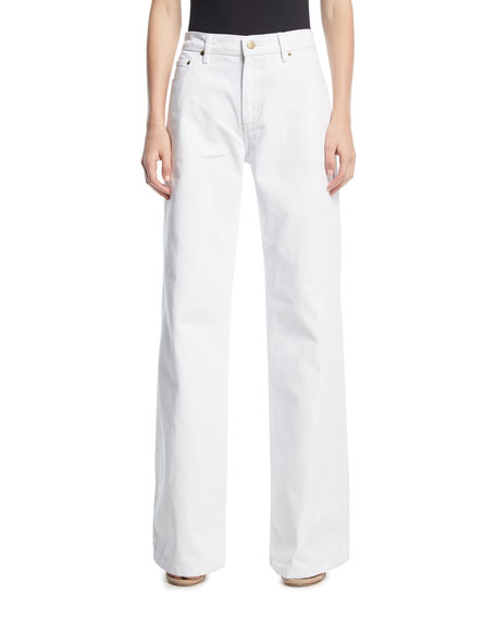 Oscar de la Renta Wide-Leg High-Rise Denim Pants