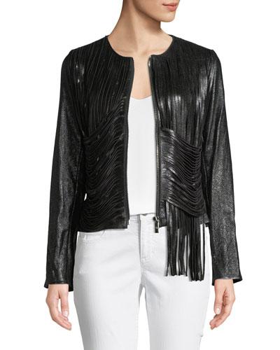 Zip-Front Draped-Fringe Lamb Leather Jacket