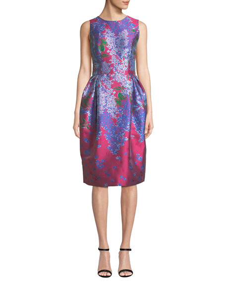 Carolina Herrera Sleeveless Full-Skirt Floral-Brocade Tea-Length