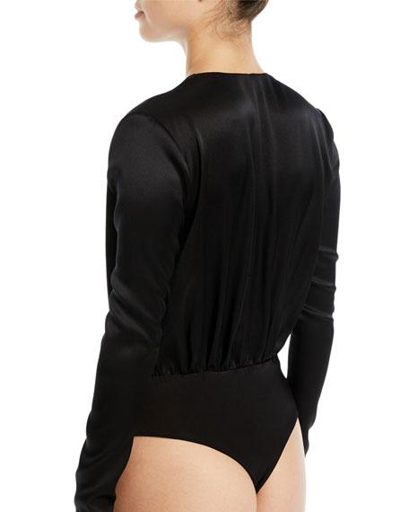 Long-Sleeve Deep-V Blouson-Style Bodysuit