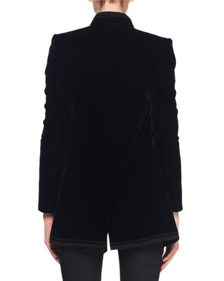 Saint Laurent Mandarin-Collar Frog-Closure Velvet Coat w/ Border Trim