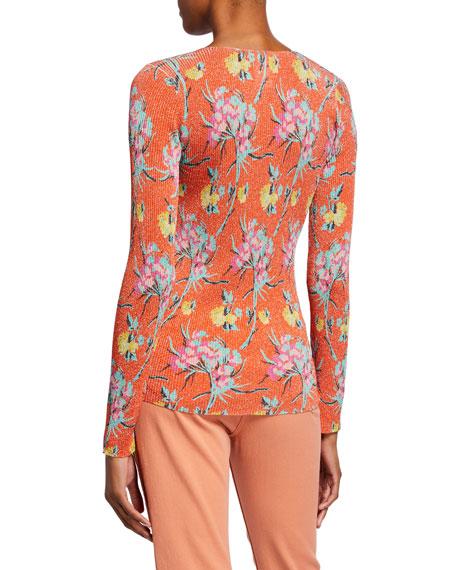 Etro Ribbed Metallic Floral Sweater