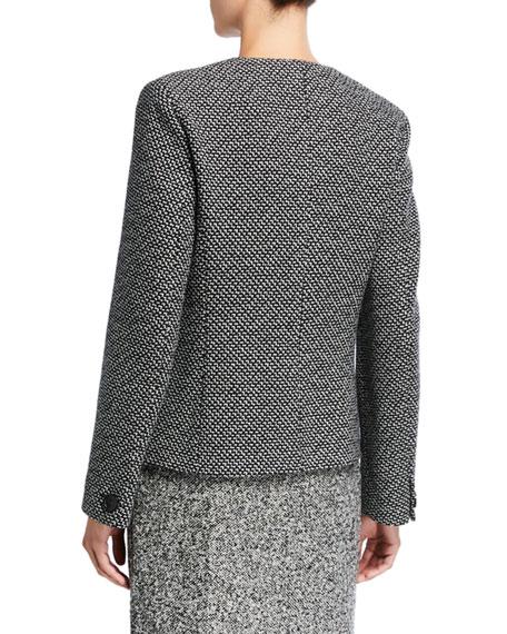 Maxmara Tweed Leather-Trim Button-Front Jacket