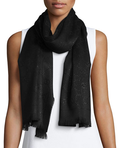 Shimmery GG Pattern Scarf, Black