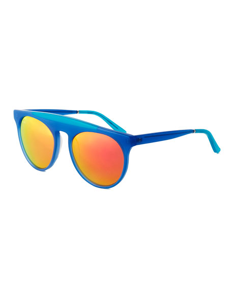 Smoke X Mirrors Baja East Atomic Brow-Bar Sunglasses,