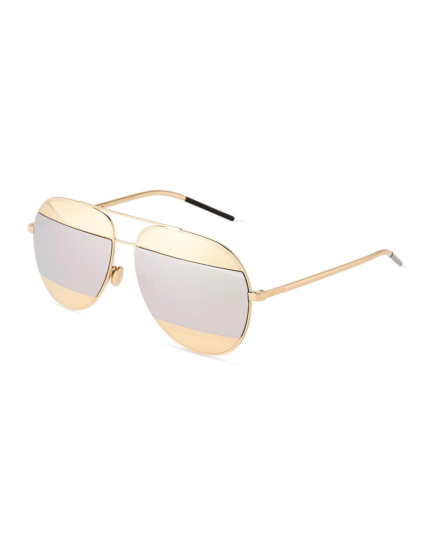 ff3b98e24df Dior DiorSplit Two-Tone Metallic Aviator Sunglasses