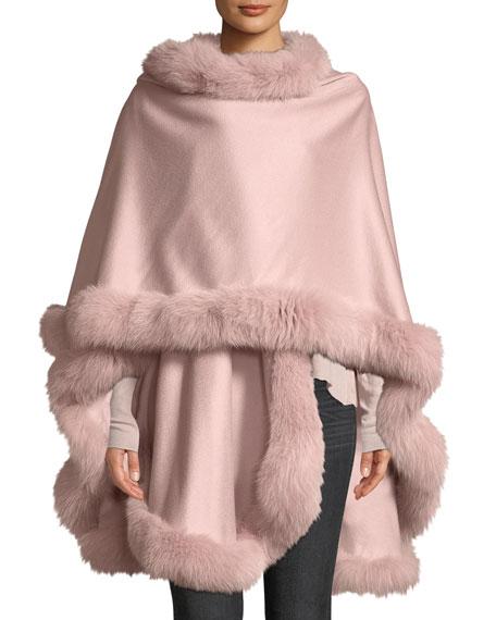 Sofia Cashmere Fox Fur-Trimmed Cashmere U-Cape