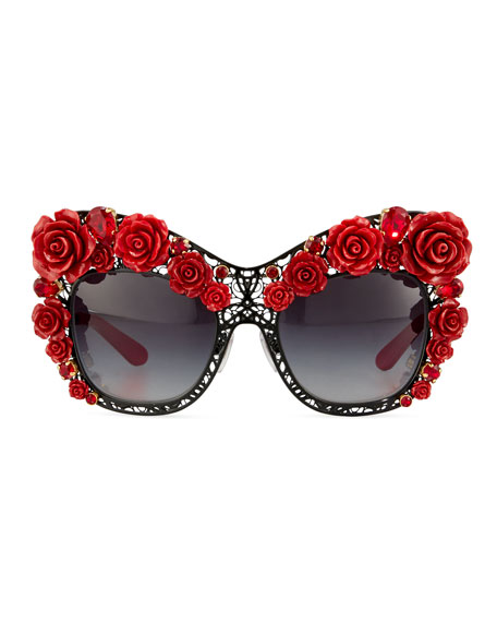 Red And Black Sunglasses  dolce gabbana dolce lace rose rhinestone cat eye sunglasses