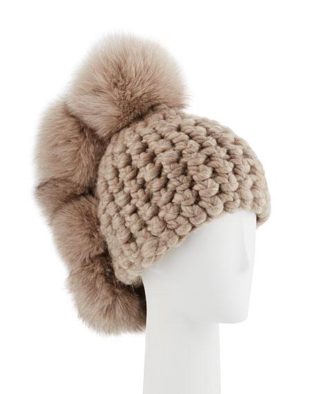 Pohawk Wool Pompom Beanie Hat
