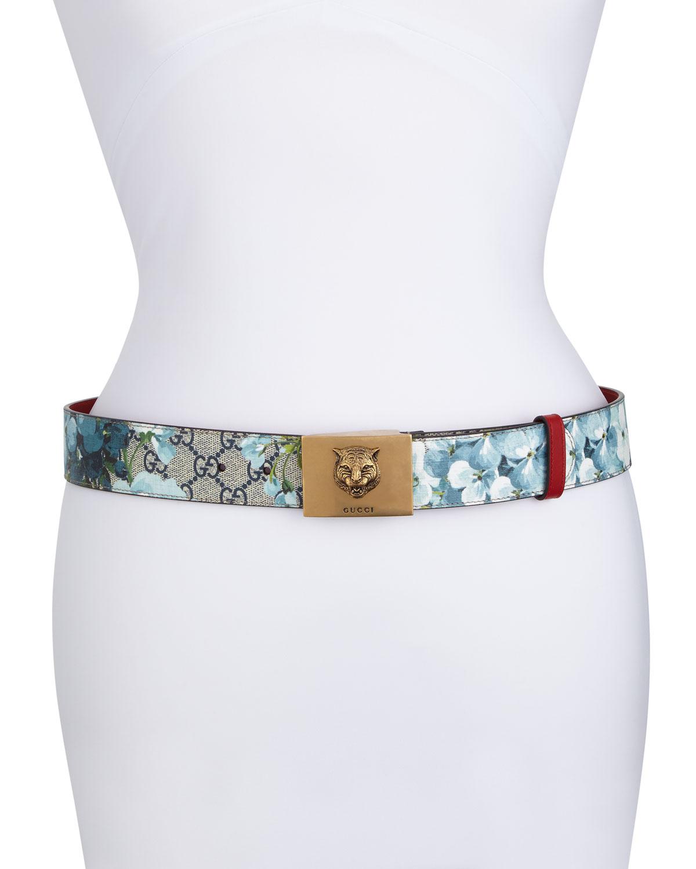 7e4c5534747 Gucci GG Supreme Blooms Belt w  Tiger Buckle