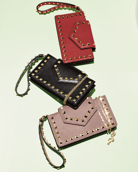 Valentino Garavani Rockstud Leather Flap Phone Case with Chain