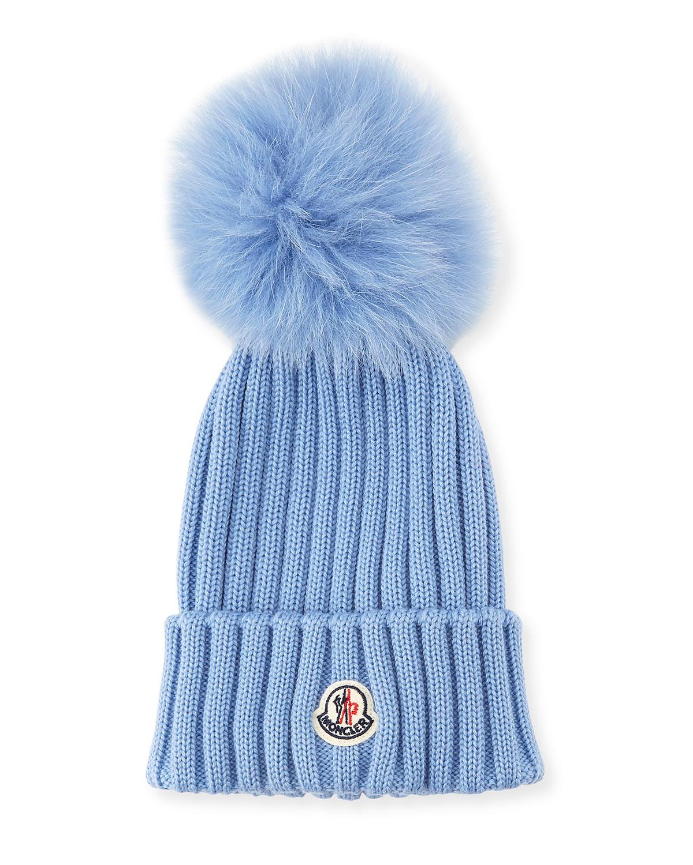 24902ab6f Moncler Berretto Knit Hat w  Fur Pompom