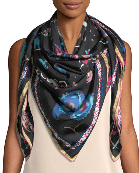 Image 3 of 3: The Fauve Silk Twill Square Scarf