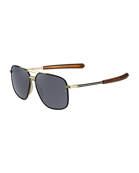 Image 1 of 1: Metal & Acetate Rounded Aviator-Style Sunglasses